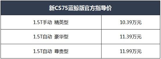 焕新颜值、进阶动力、超享空间,新CS75蓝鲸版上市仅售10.39万元起